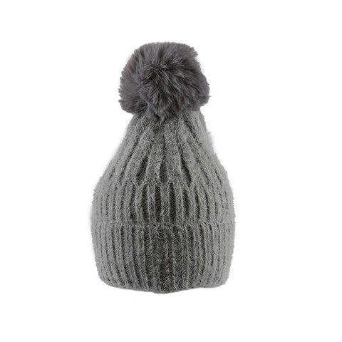 Grey Soft Ribbed Knit- Pom Pom Hat- House of Hide UK Ltd