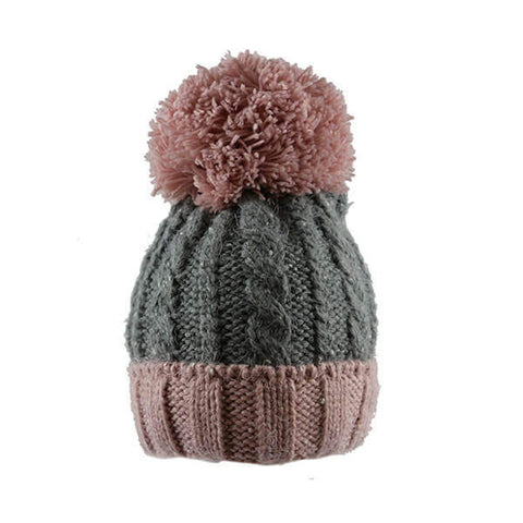 Grey & Pink- Large Pom Pom Hat- House of Hide UK Ltd