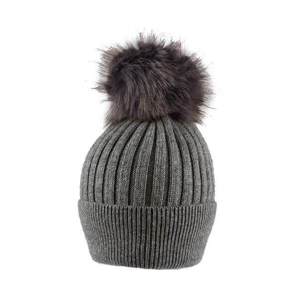 Grey Thin Knit- Pom Pom Hat- House of Hide UK Ltd