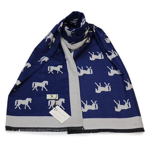 Blue & White Horse Design Scarf- House of Hide UK Ltd
