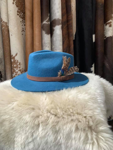 Cerulean Feathered Fedora- House of Hide UK Ltd