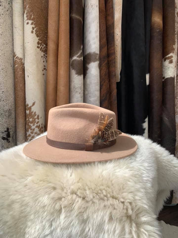 Camel Feathered Fedora- House of Hide UK Ltd