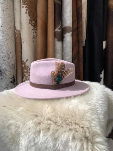 Baby Pink Feathered Fedora- House of Hide UK Ltd