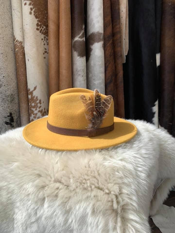 Royal Yellow Feathered Fedora- House of Hide UK Ltd