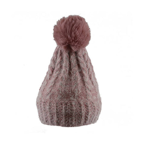 Pink Soft Cable Knit- Pom Pom Hat- House of Hide UK Ltd