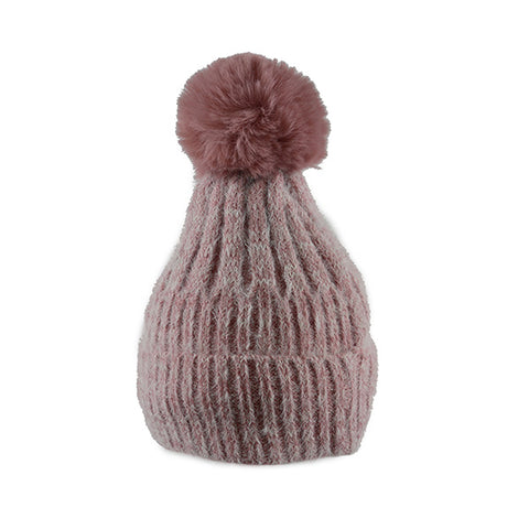 Pink Soft Ribbed Knit- Pom Pom Hat- House of Hide UK Ltd