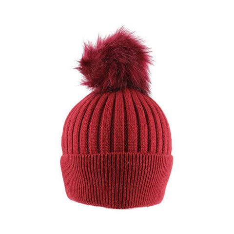 Red Thin Knit- Pom Pom Hat- House of Hide UK Ltd