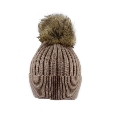 Salmon Thin Knit- Pom Pom Hat- House of Hide UK Ltd