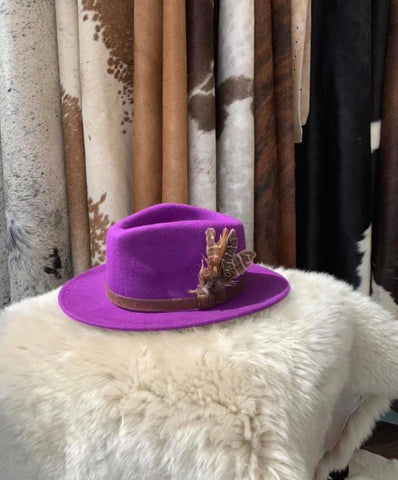 Psychedelic Purple Feathered Fedora- House of Hide UK Ltd