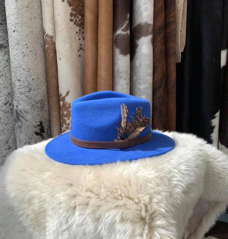 Electric Blue Feathered Fedora- House of Hide UK Ltd