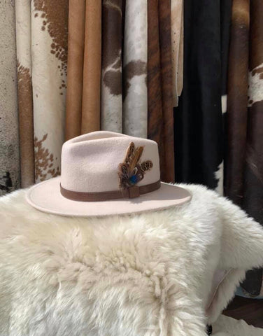 Beige Feathered Fedora- House of Hide UK Ltd