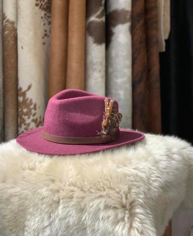 Plum Feathered Fedora- House of Hide UK Ltd