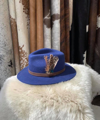 Azure Feathered Fedora- House of Hide UK Ltd
