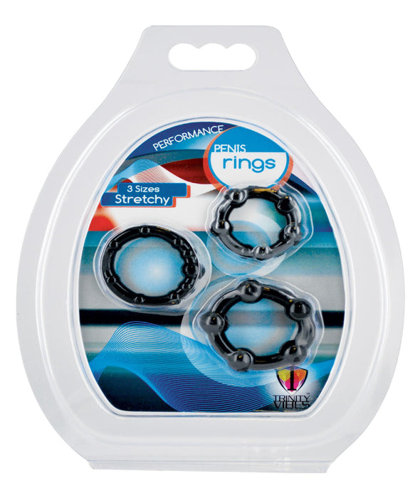 Black Performance Erection Rings - Packaged - MyPrivateJoy