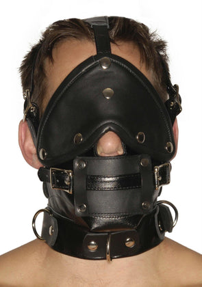 Strict Leather Premium Muzzle with Blindfold and Gags - MyPrivateJoy