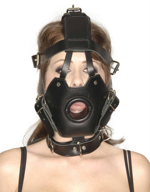 Strict Leather Premium Muzzle with Open Mouth Gag - MyPrivateJoy