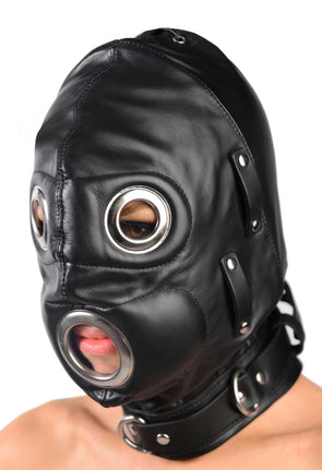 Total Lockdown Leather Hood - MyPrivateJoy