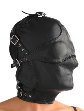 Asylum Leather Hood with Removable Blindfold and Muzzle - MyPrivateJoy