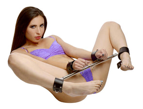 Adjustable Swiveling Spreader Bar with Leather Cuffs - MyPrivateJoy