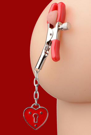 Captive Heart Padlock Nipple Clamps - MyPrivateJoy