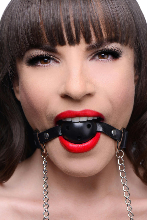 Breathable Ball Gag with Nipple Clamps - MyPrivateJoy