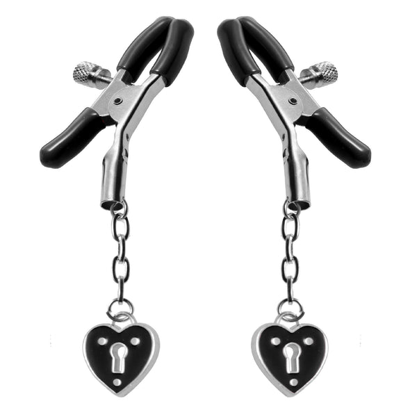 Charmed Heart Padlock Nipple Clamps - MyPrivateJoy