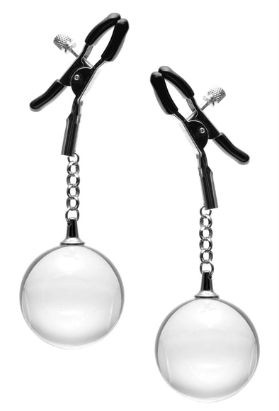 Spheres Adjustable Nipple Clamps with Weighted Clear Orbs - MyPrivateJoy
