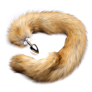 Extra Long Mink Tail Metal Anal Plug- Brown - MyPrivateJoy