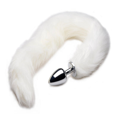 Extra Long Mink Tail Metal Anal Plug- White - MyPrivateJoy