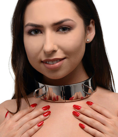 Stainless Steel Locking Bondage Collar- 4.5 Inch - MyPrivateJoy