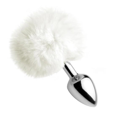 White Fluffy Bunny Tail Anal Plug - MyPrivateJoy