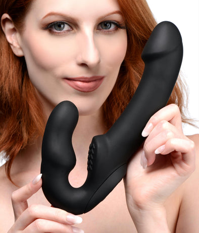 Evoke Rechargeable Vibrating Silicone Strapless Strap On - MyPrivateJoy
