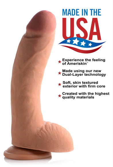 10 Inch Ultra Real Dual Layer Suction Cup Dildo- Medium Skin Tone - MyPrivateJoy