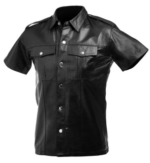 Lambskin Leather Police Shirt - MyPrivateJoy