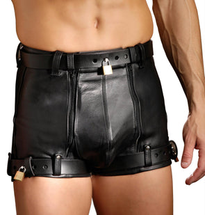Strict Leather Chastity Shorts - MyPrivateJoy