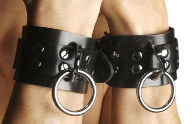 Strict Leather Locking Rubber Wrist Restraints - MyPrivateJoy
