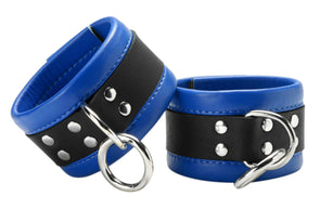 Blue Mid-Level Leather Wrist Restraint - MyPrivateJoy