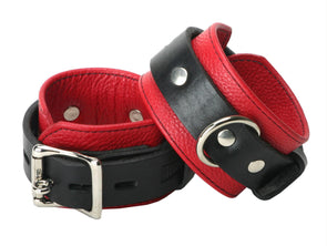 Strict Leather Deluxe Black and Red Locking Wrist Cuffs - MyPrivateJoy
