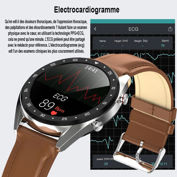 Smart watch LE8 full ecran tactile PPG + ECG bracelet remplaçable Ip68