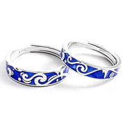 "Alliance Argent couple 100% 925S ""Blue sky"""
