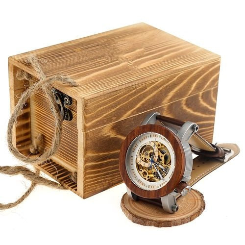 Red Wooden Mechanical Watch