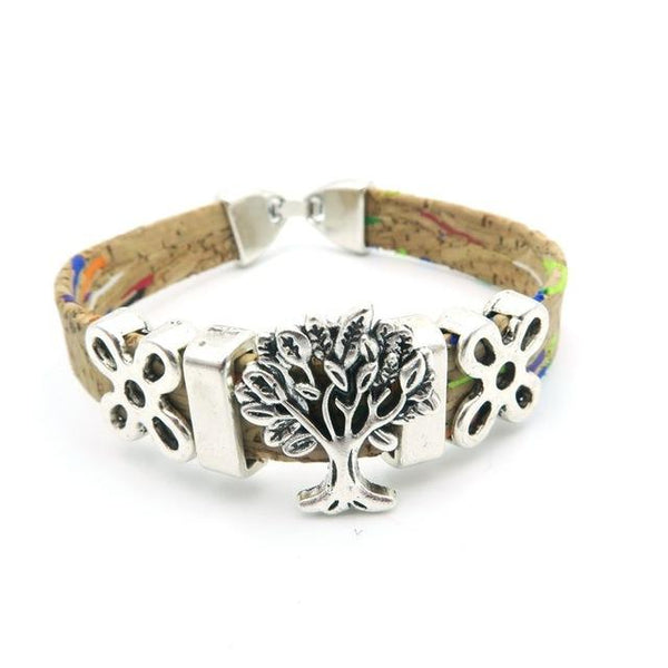 "Natural Cork ""Tree of Life"" Colourful Bracelet"