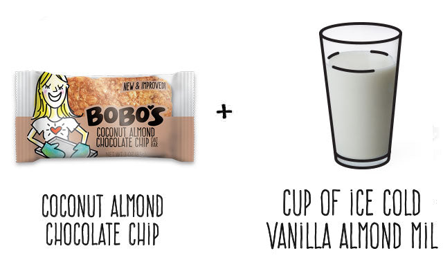 Coconut Almond Chocolate Chip Oat Bar and Ice cold Vanilla Almond Milk