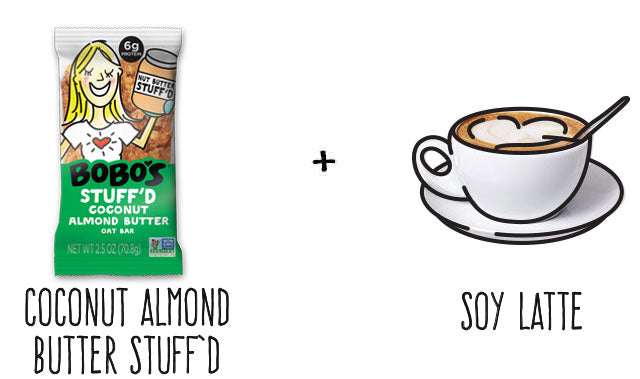 Coconut Almond Butter Stuffd Bar and Soy Latte