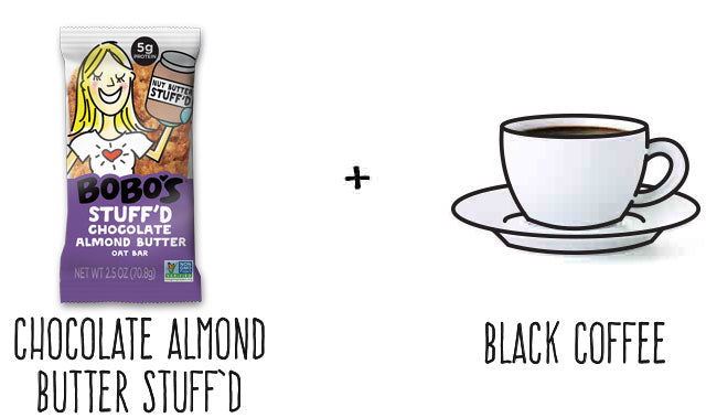Chocolate Almond Butter Stuff'd Bar and Coffee