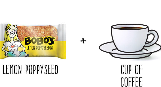 Lemon Poppyseed Oat Bar and cup of coffee+