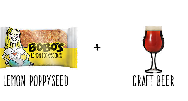 Lemon Poppyseed Oat Bar and Craft Beer