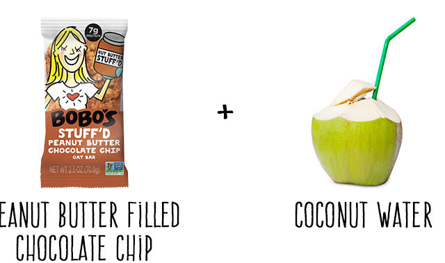 Peanut Butter Chocolate Chip Stuff'd Oat Bar and Coconut Water