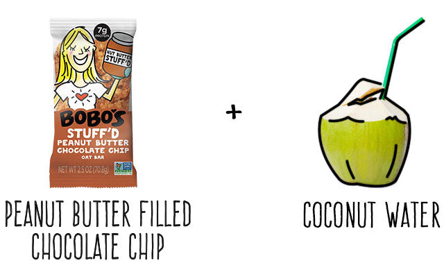 Peanut Butter filled chocolate chip oat bar and coconut water