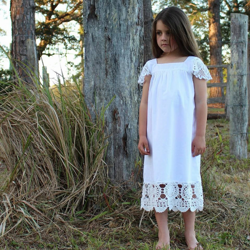 Snow Vintage Crochet Cotton Dress